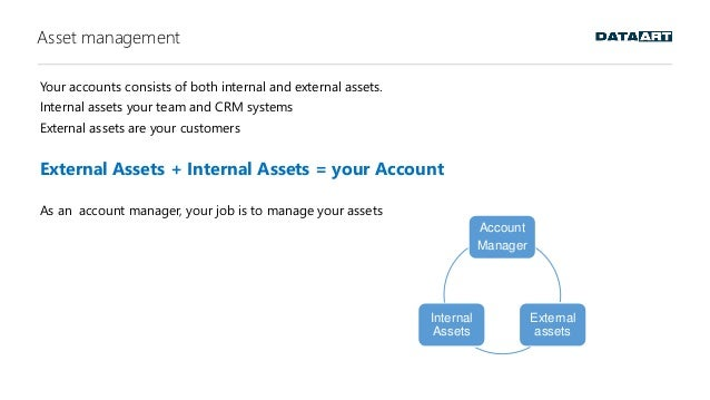 Asset management Your accounts consists of both internal and external assets. Internal assets your team and CRM systems Ex...