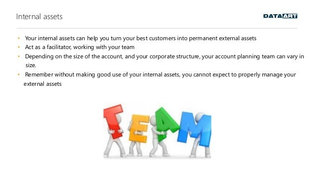 Internal assets • Your internal assets can help you turn your best customers into permanent external assets • Act as a fac...