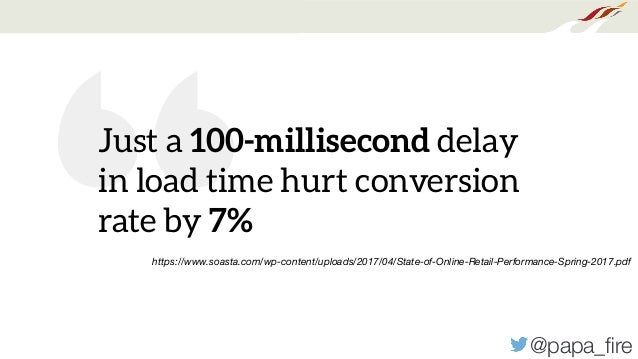 """@papa_fire """" Just a 100-millisecond delay in load time hurt conversion rate by 7% https://www.soasta.com/wp-content/uploads..."""