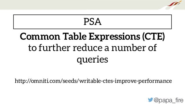 @papa_fire Common Table Expressions (CTE) to further reduce a number of queries http://omniti.com/seeds/writable-ctes-impro...