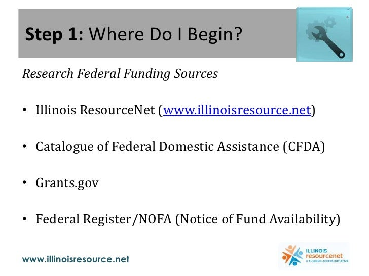 Step 1: Where Do I Begin?<br />Research Federal Funding Sources<br />Illinois ResourceNet (www.illinoisresource.net)<br />...