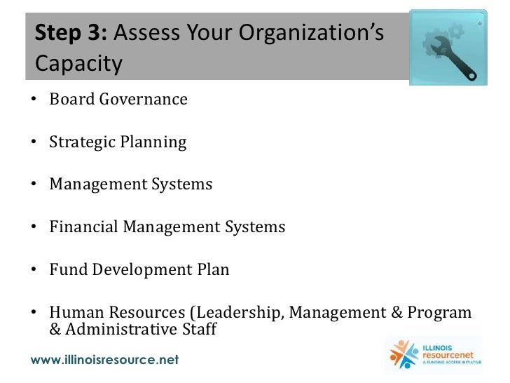 Step 3: Assess Your Organization's Capacity<br />Board Governance<br />Strategic Planning<br />Management Systems<br />Fin...