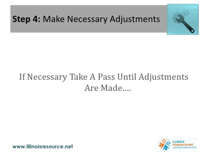 Step 4: Make Necessary Adjustments<br />If Necessary Take A Pass Until Adjustments Are Made….<br />