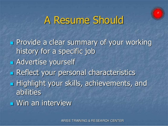 Developing a resume presentation - ARISE ROBY