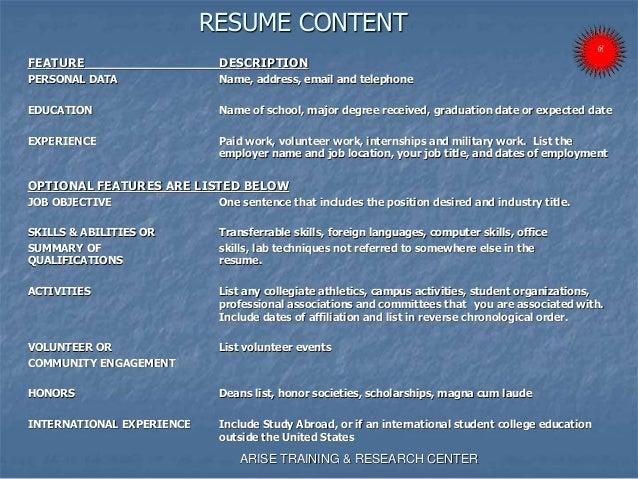 developing a resume presentation