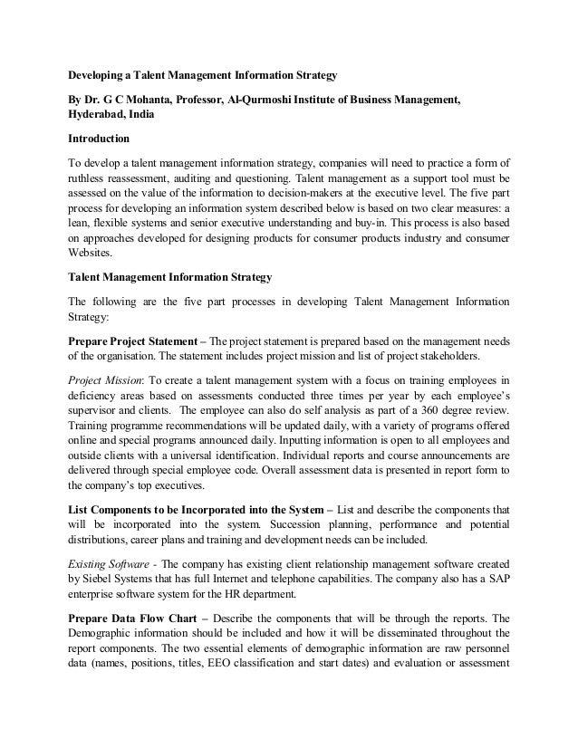 Developing a Talent Management Information Strategy By Dr. G C Mohanta, Professor, Al-Qurmoshi Institute of Business Manag...