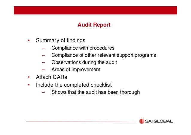 Effective audit report writing training – Audit Summary Template