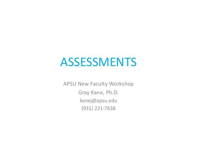 ASSESSMENTSAPSU New Faculty Workshop     Gray Kane, Ph.D.     kanej@apsu.edu      (931) 221-7638