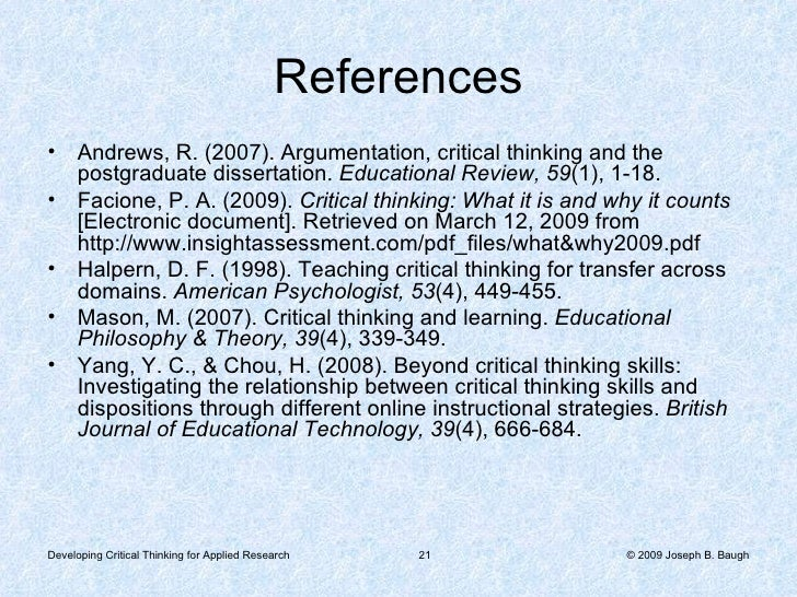 teaching critical thinking for transfer across domains halpern Teaching critical thinking for transfer across domains dispositions, skills, structure training, and metacognitive monitoring diane e halpern california state university, san bernardino advances in technology and changes in necessary work- place skills have made the ability to think critically more important than ever.