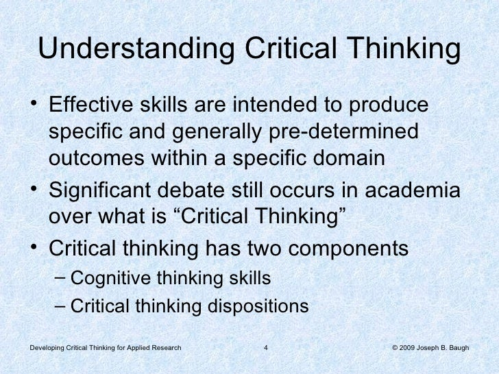 What are the army cognitive skills in critical thinking