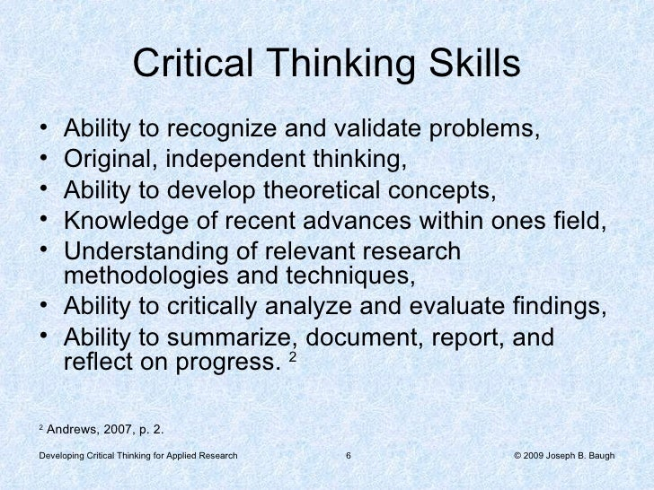 how to develop critical thinking skills in research