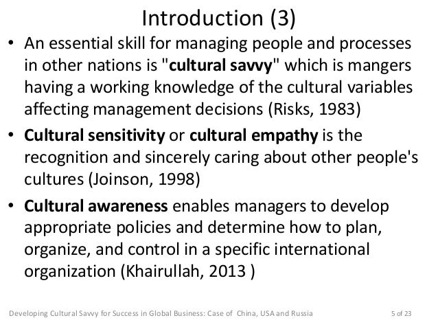 Developing Cultural Savvy for Success in Global Business