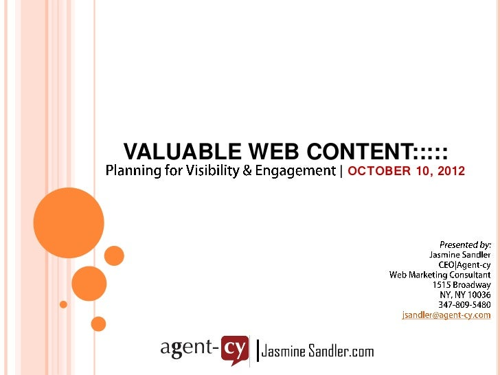 VALUABLE WEB CONTENT:::::                | OCTOBER 10, 2012