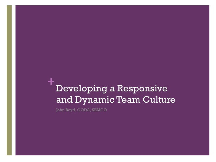 Developing a Responsive and Dynamic Team Culture <ul><li>John Boyd, OODA, SEMCO </li></ul>