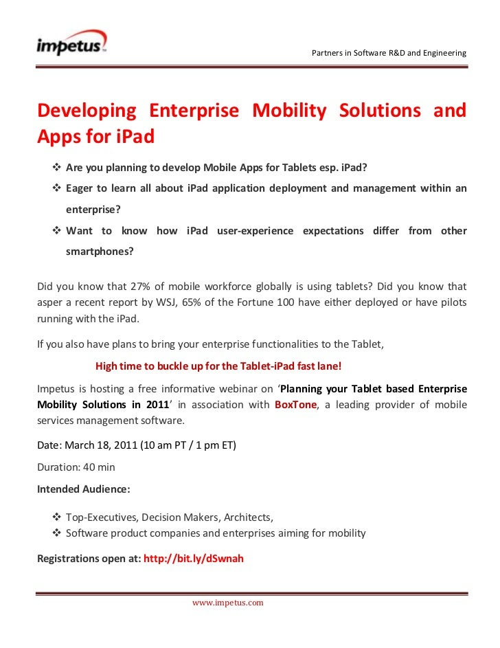 <br /> <br />Developing Enterprise Mobility Solutions and Apps for iPad <br /><ul><li>Are you planning to de...