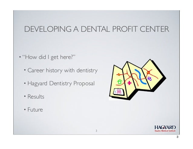 """DEVELOPING A DENTAL PROFIT CENTER • """"How  did I get here?""""  • Career  history with dentistry  • Hagyard  Dentistry Proposa..."""