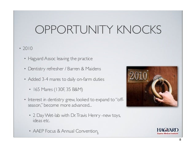OPPORTUNITY KNOCKS •  2010 •  Hagyard Assoc leaving the practice  •  Dentistry refresher / Barren & Maidens  •  Added 3-4 ...