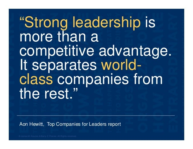 """Aon Hewitt, Top Companies for Leaders report """"Strong leadership is more than a competitive advantage. It separates world- ..."""