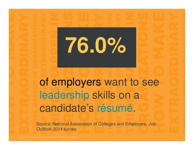 © James M. Kouzes & Barry Z. Posner. All Rights reserved. of employers want to see leadership skills on a candidate's résu...