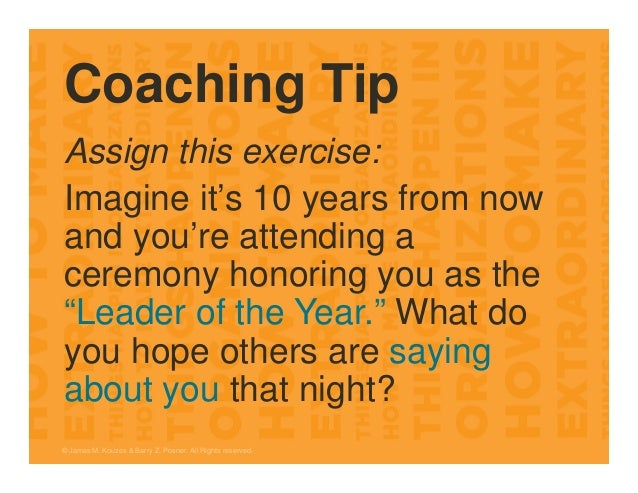 """Coaching Tip Assign this exercise: Imagine it's 10 years from now and you're attending a ceremony honoring you as the """"Lea..."""
