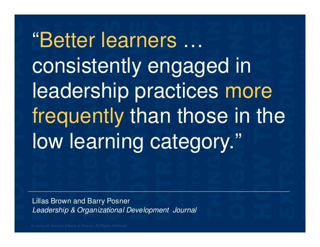 """Lillas Brown and Barry Posner Leadership & Organizational Development Journal """"Better learners … consistently engaged in l..."""