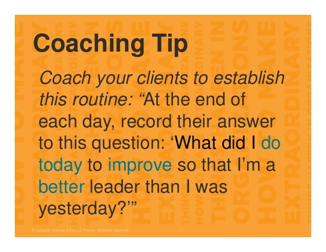 """Coaching Tip Coach your clients to establish this routine: """"At the end of each day, record their answer to this question: ..."""