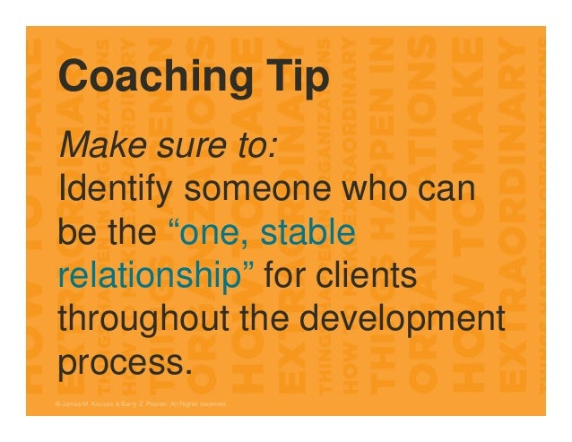"""Coaching Tip Make sure to: Identify someone who can be the """"one, stable relationship"""" for clients throughout the developme..."""