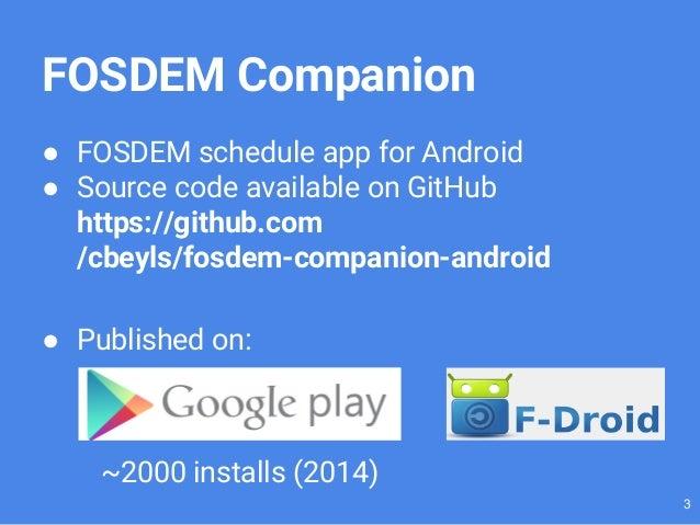Developing FOSDEM Companion Slide 3