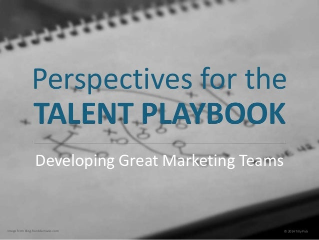 Perspectives for the  TALENT PLAYBOOK  Developing Great Marketing Teams  Image from blog.frankdamazio.com © 2014 Tilly Pic...