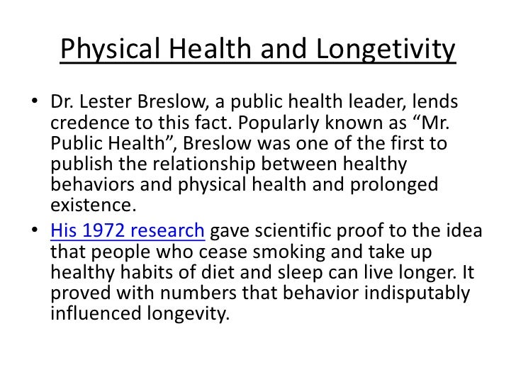 Longevity Studies Related to Lifestyle - Proof Positive ...