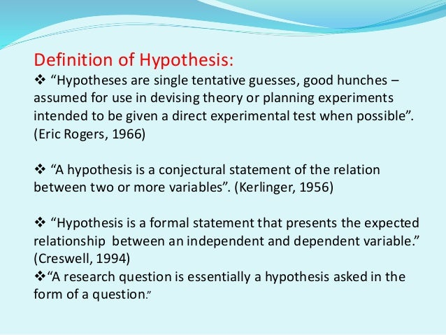 how to formulate a hypothesis statement