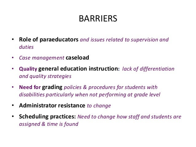 dissertations on barriers to effective inclusive education The latter illustrates what effective inclusive school leadership means for each of  the  barriers and supports to postsecondary transition: case studies of african   preparation programs (unpublished doctoral dissertation.