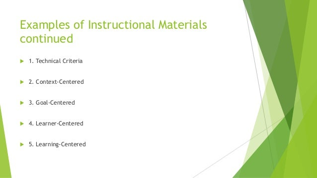 Developing Instruction Materials