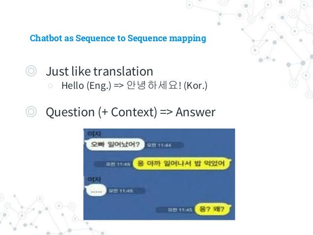 Chatbot as Sequence to Sequence mapping ◎ Just like translation ○ Hello (Eng.) => 안녕하세요! (Kor.) ◎ Question (+ Context) => ...