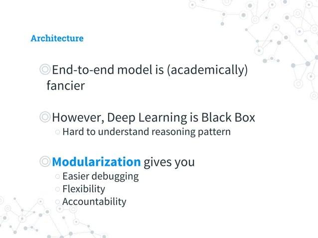 Architecture ◎ Core modules ○ Sentence vectorizer ○ Intent classifier ○ Response generator ◎ Optional ○ Tone generation ○ ...