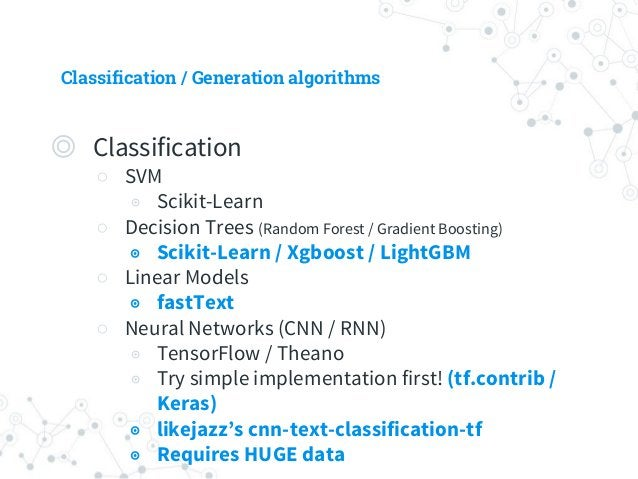 Classification / Generation algorithms ◎ Generation ○ Predefined answers ◉ Randomly select a response from 'response list'...
