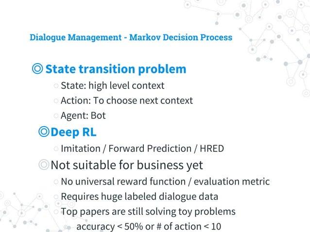 Dialogue Management - Markov Decision Process