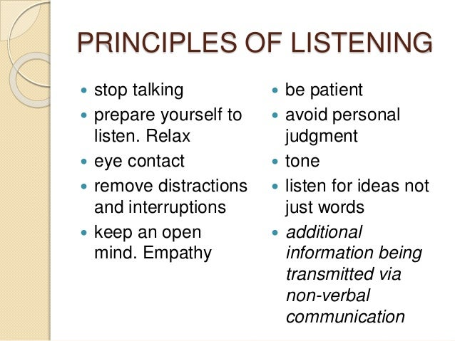 principles of effective speaking and listening skills Last week's feature focused on communication skills and their importance in the workplace this week's feature is about the other side of communication-listening skills.