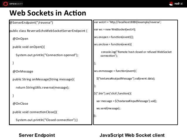 "Web  Sockets  in  Ac*on   @ServerEndpoint(""/reverse"")   public  class  ReverseEchoWebSocketServerEndpoint  ..."