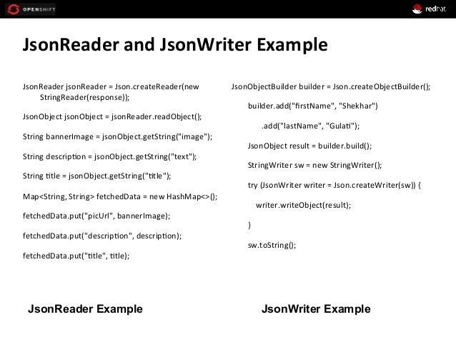 JsonReader  and  JsonWriter  Example   JsonReader  jsonReader  =  Json.createReader(new   StringReader(res...