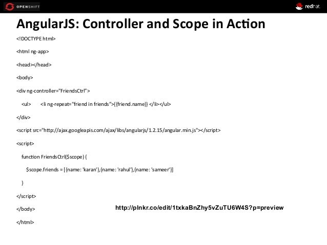 AngularJS:  Controller  and  Scope  in  Ac*on   <!DOCTYPE  html>   <html  ng-‐app>   <head></head>  ...