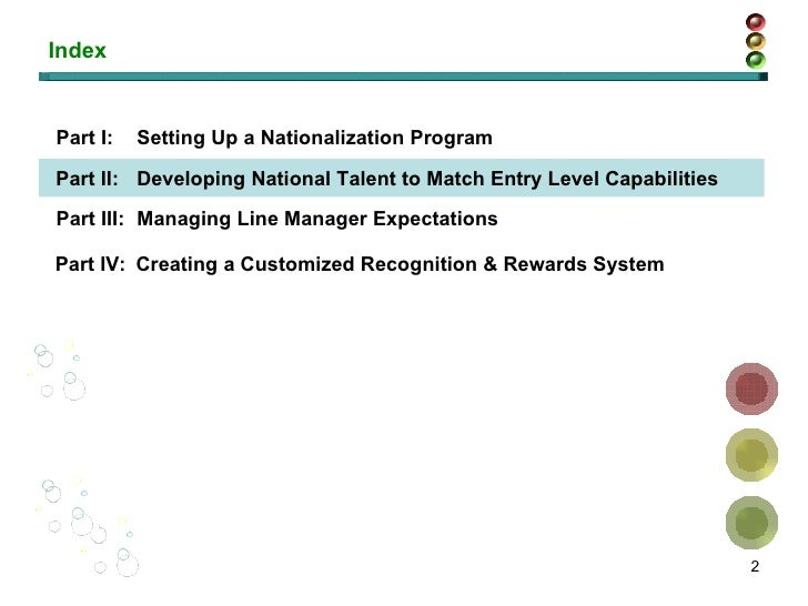 Index Part I: Setting Up a Nationalization Program Part II: Developing National Talent to Match Entry Level Capabilities P...