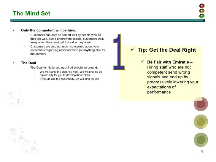 The Mind Set <ul><li>Only the competent will be hired </li></ul><ul><ul><li>Customers can only be served well by people wh...