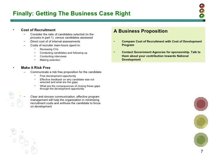 Finally: Getting The Business Case Right <ul><li>Cost of Recruitment </li></ul><ul><ul><li>Consider the ratio of candidate...