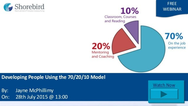 Developing People Using the 70/20/10 Model By: Jayne McPhillimy On: 28th July 2015 @ 13:00 FREE WEBINAR Starting Soon Watc...