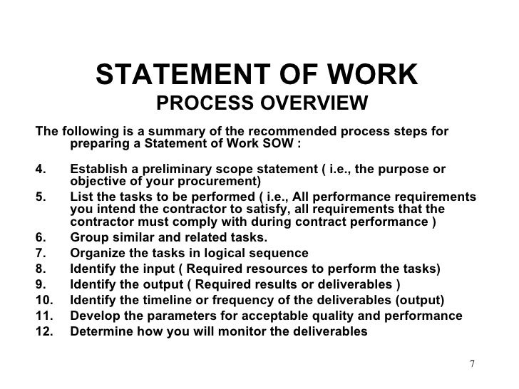 developing performance based work statements