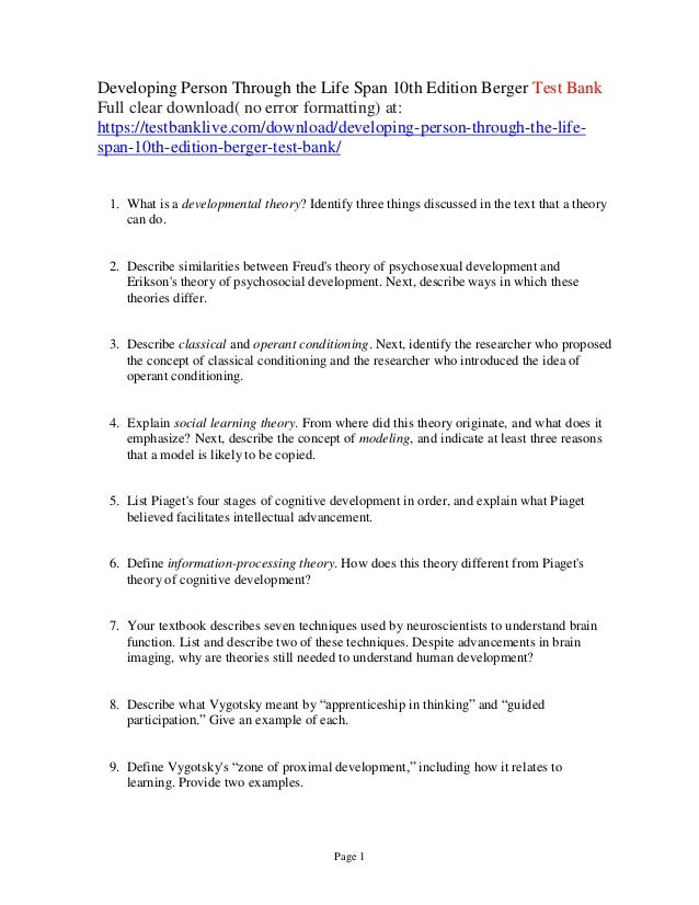 Developing Person Through The Life Span 10th Edition Berger Test Bank