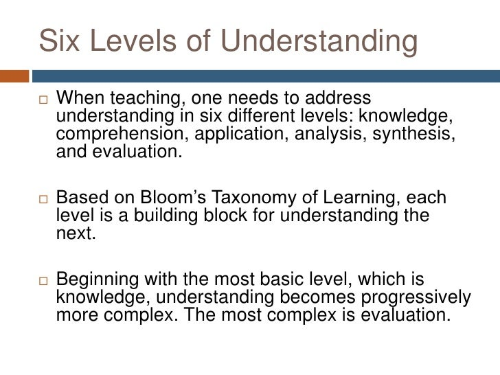 Developing Questions To Support The Six Levels Of Understanding