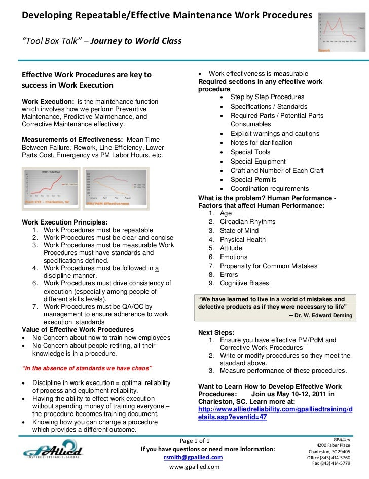 "DevelopingRepeatable/EffectiveMaintenanceWorkProcedures                                                     ""ToolBox..."