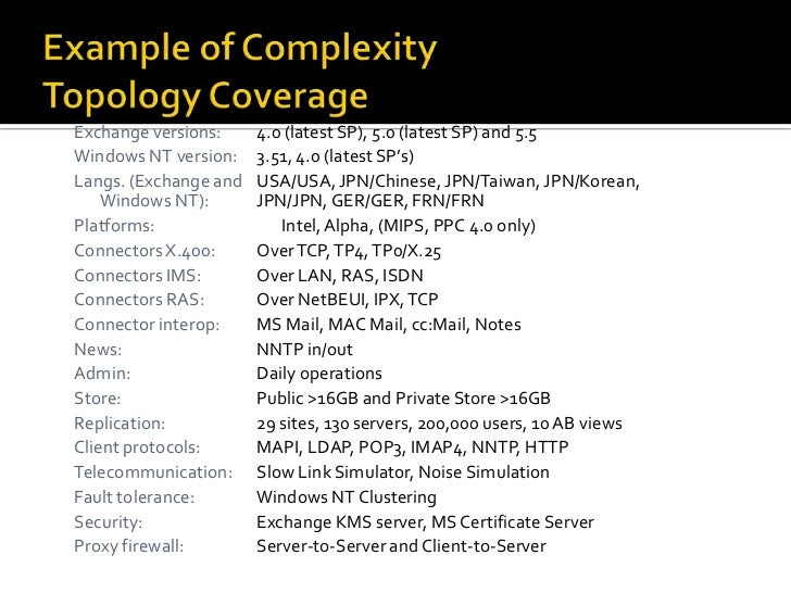 Example of ComplexityTopology Coverage<br />Exchange versions:4.0 (latest SP), 5.0 (latest SP) and 5.5 <br />Windows NT v...